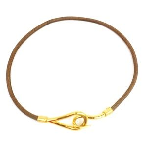 HERMES Double Tour Brown Leather Hook Bracelet nr